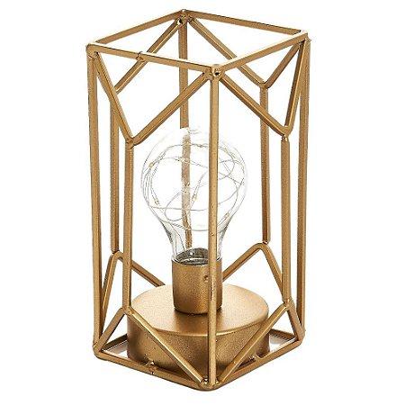 Luminária Decorativa com Lâmpada em Aço 18x12 cm Dourado