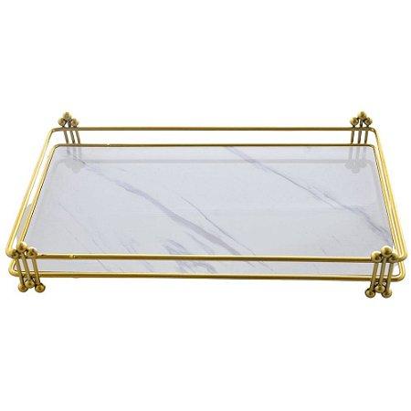 Bandeja Decorativa Retangular em Metal Dourado 34cm