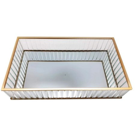Bandeja Decorativa Espelhada Retangular em Vidro/Metal 20cm