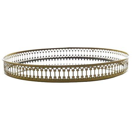 Bandeja Lumiks Espelhada Circular em Metal Ø28cm Dourado