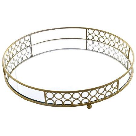 Bandeja Decorativa Espelhada em Metal 33cm - Dourado