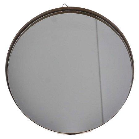 Espelho Decorativo Redondo Dourado 40 cm Metal - Bella Flor