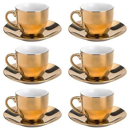 Jogo de Xícaras para Café com Pires Luminus 12 Peças Dourado