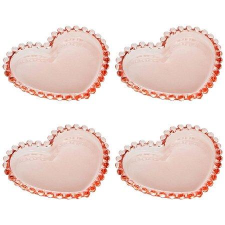 Conjunto de 4 Pratos Wolff Cristal Pearl 12cm Rosa - Rojemac