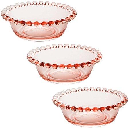 Jogo 3 Bowls Bolinhas Wolff Cristal Pearl 14cm Rosa Rojemac