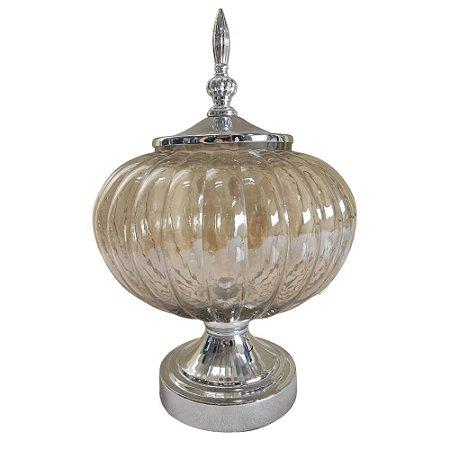 Pote Decorativo com Tampa em Vidro e Metal 34cm Cinza