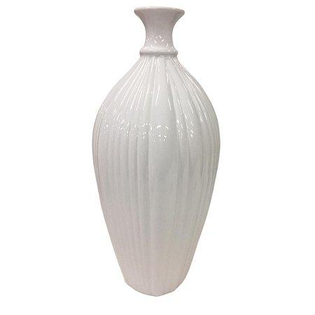 Vaso Decorativo Branco Brilho em Cerâmica 38cm Ana Maria