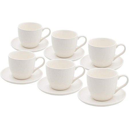 Conjunto de 6 Xícaras Luiza em Porcelana Branco – Rojemac