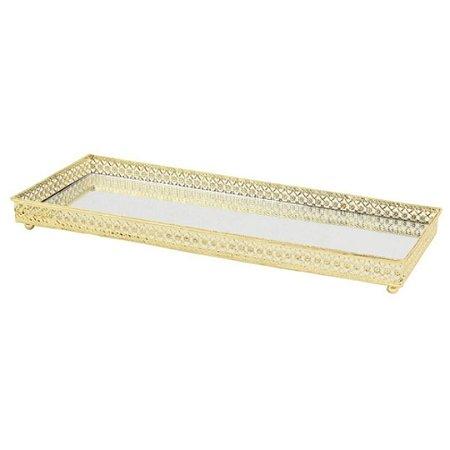 Bandeja Espelhada Decorativa Glass em Metal e Vidro Dourado