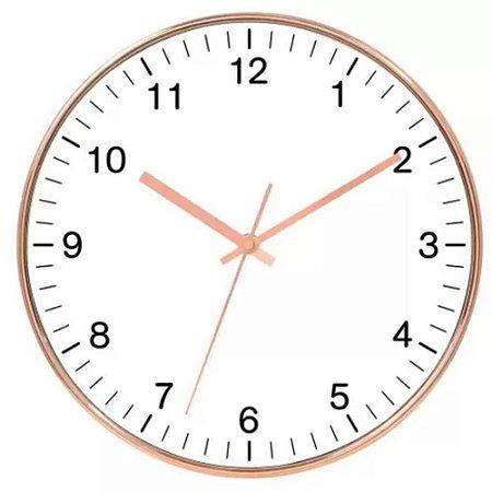 Relógio de Parede em Plástico Rose e Branco Ø25cm - Craw