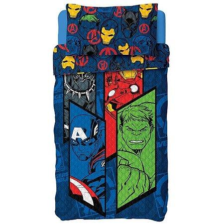 Jogo de Cama Kids Solteiro Avengers Dupla Face 2 Peças Azul