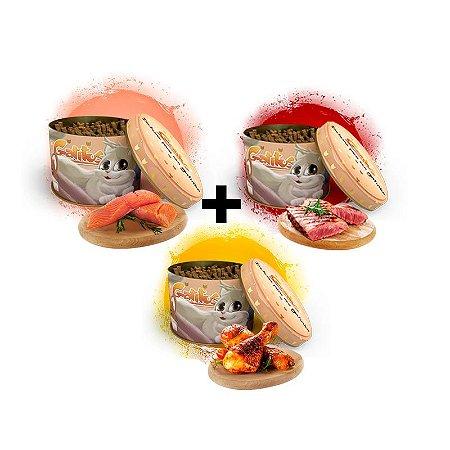KIT 3 Latas - Bifinho Sabor Salmão, Carne e Frango - 100g cada (300g no Total)