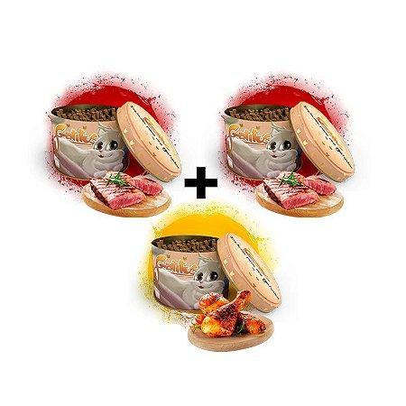 KIT 3 Latas - 2 Bifinhos sabor Carne (200g) e 1 Bifinho sabor Frango (100g) -  (300g no Total)