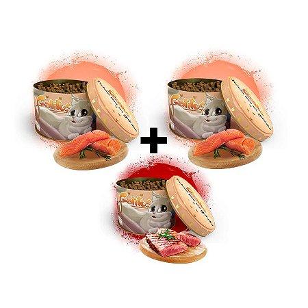 KIT 3 Latas - 2 Bifinhos sabor Salmão (200g) e 1 Bifinho sabor Carne (100g) -  (300g no Total)
