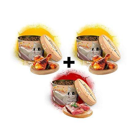 KIT 3 Latas - 2 Bifinhos sabor Frango (200g) e 1 Bifinho sabor Carne (100g) -  (300g no Total)
