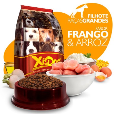 Alimento High Premium Completo - Xisdog - Filhote Raças Grandes - Frango - Cada unidade = 1kg