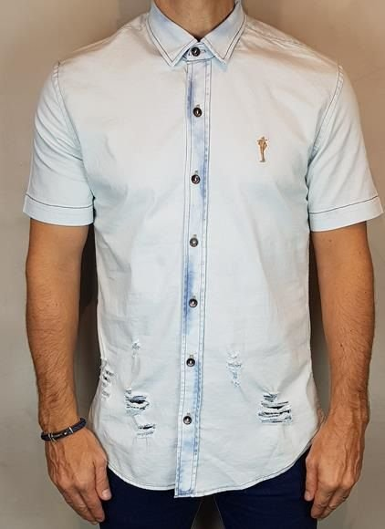 Camisa Jeans Teselli by Zip Off Manga Curta Destroyer