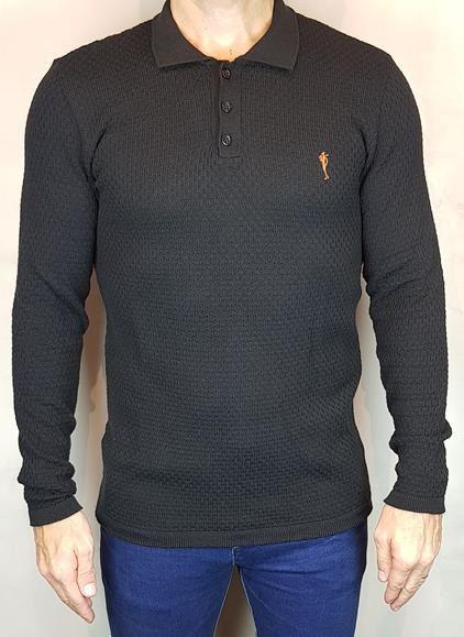 Camisa Sueter Teselli Tricoline by Zip Off Preto