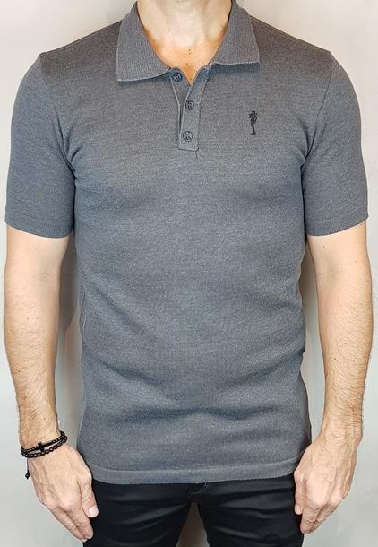 Camisa Polo Teselli by Zip Off Algodão Retilíneo Chumbo