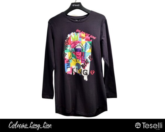 Camisa Long Line Totanka Michael Jackson Preta Premium