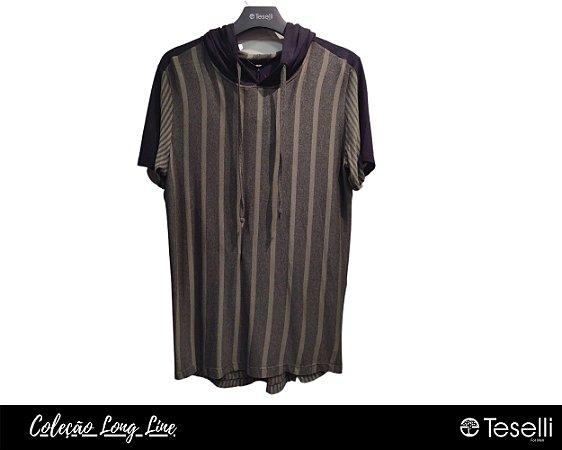 Camisa Long Line Pargan Riscas Verde/Preto  com Capuz 9601