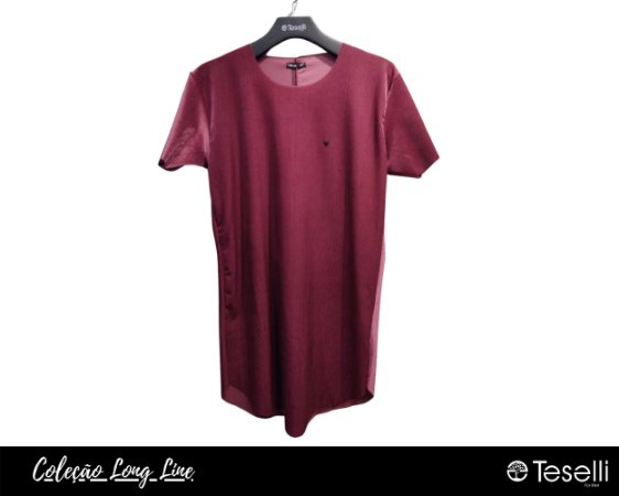 Camisa Long Line Totanka Canelada Bordô  Premium