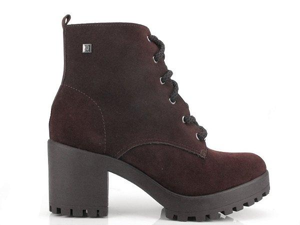 Bota Coturno Ramarim Ankle Boot Couro Camurça Café 2056101