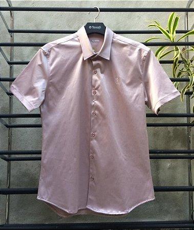 Camisa Cetim Zip Off M/C Slim Fit Rosê 35554