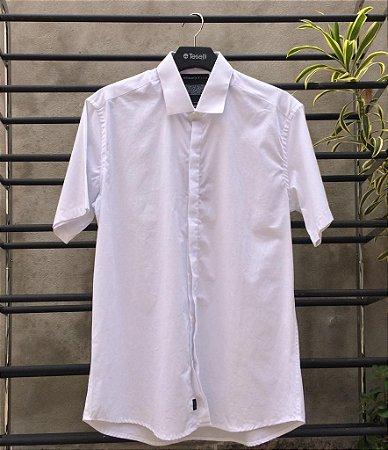 Camisa Social Teselli Algodão c/ Elastano M/C Branco 110583