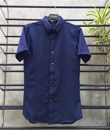 Camisa Viscolinho Spoiler  M/C Slim Fit Marinho SP013