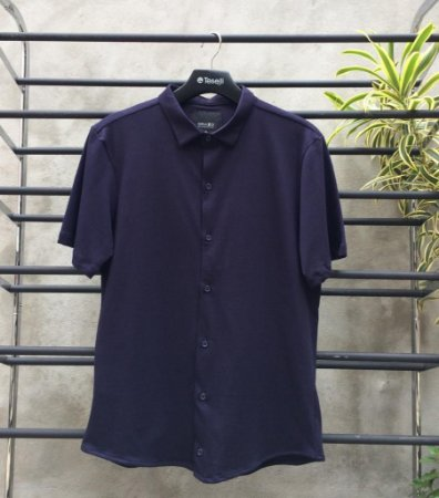 Camisa Social Malha Algodão Teselli M/C Marinho 110627