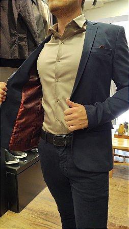 Blazer Docthos Malha Lisa Premium Marinho Slim Fit