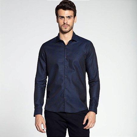 Camisa Social Docthos M/L Tricoline Azul 839808