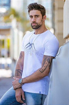 Camiseta T-Shirt Arêdu Mozaico Algodão c/ Elastano Branca