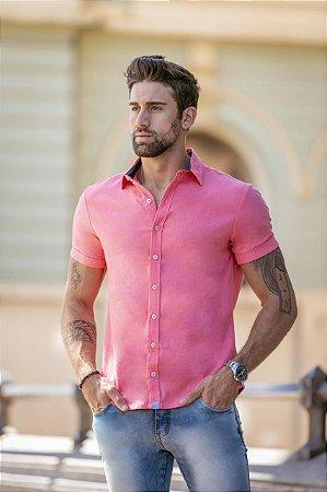 Camisa Arêdu Nature Linho c/ Elastano Rosa Premium