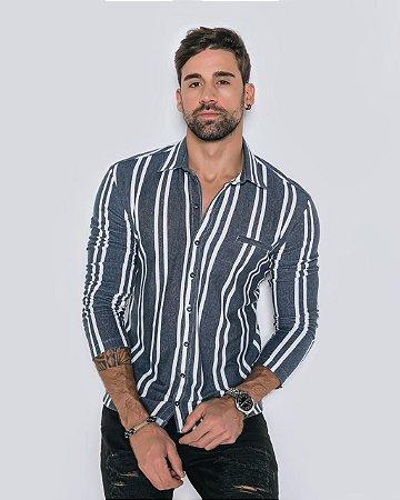 Camisa Arêdu Jeans Listras Algodão c/ Elastano M/L