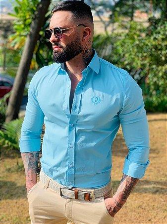 Camisa Social Premium Algodão c/ Elastano Verde Aqua
