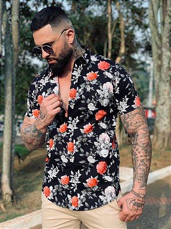 Camisa Casual Premium Algodão c/ Elastano M/C Floral