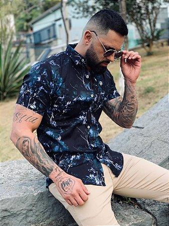 Camisa Casual Premium Algodão c/ Elastano M/C Floral Preta