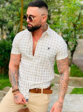 Camisa Casual Premium Algodão c/ Elastano M/C Xadrez
