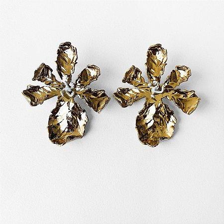 Brinco Flor de Biri ouro vintage