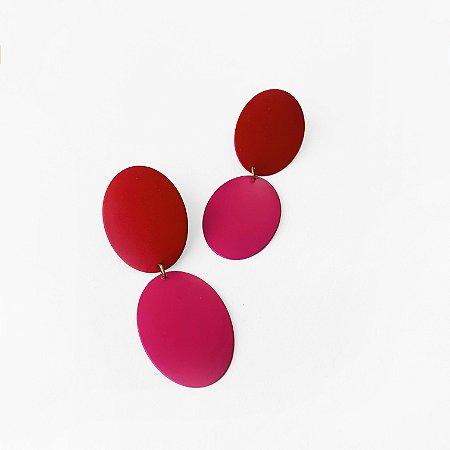 Brinco Colors vermelho/pink fosco