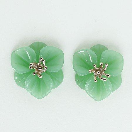 Brinco Lilium Pressão - Verde Opalina
