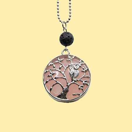 Colar Árvore da Vida Quartzo Rosa para Aromaterapia