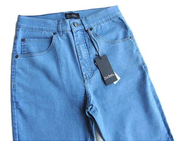 Calça Jeans Pierre Cardin Masculina Tradicional com Elastano Azul Claro Cintura Alta 420