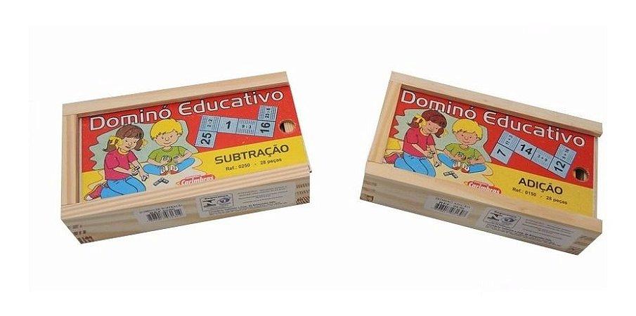 Kit Domino Educativo De Adiçao + Subtraçao Matematica Pedago