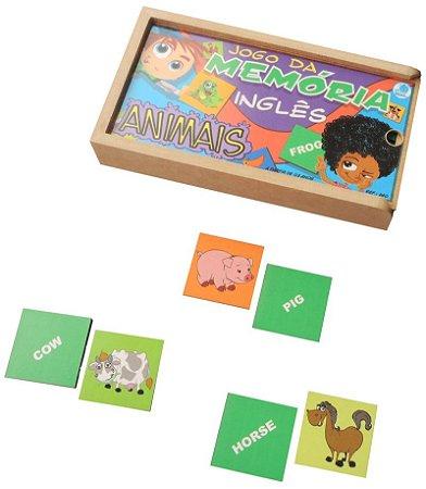 Jogo da Memoria de Animais em Ingles Simque 40 Peças +5 Anos