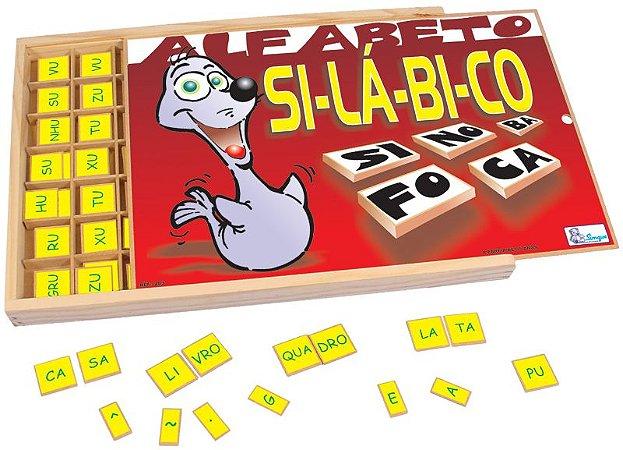 Alfabeto Silabico 359 Peças Estojo de Madeira Simque +5 Anos