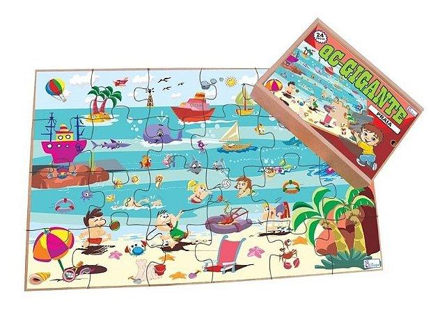 Quebra Cabecas Gigante Madeira Praia 6 Anos 96 Peças Simque