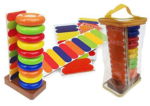 Combine e Encaixe Brinquedo Educativo Sensorial Carimbras +3 ANos